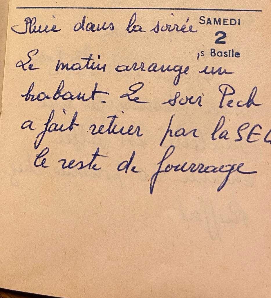 Samedi 2 janvier 1960 - le brabant et le fourrage