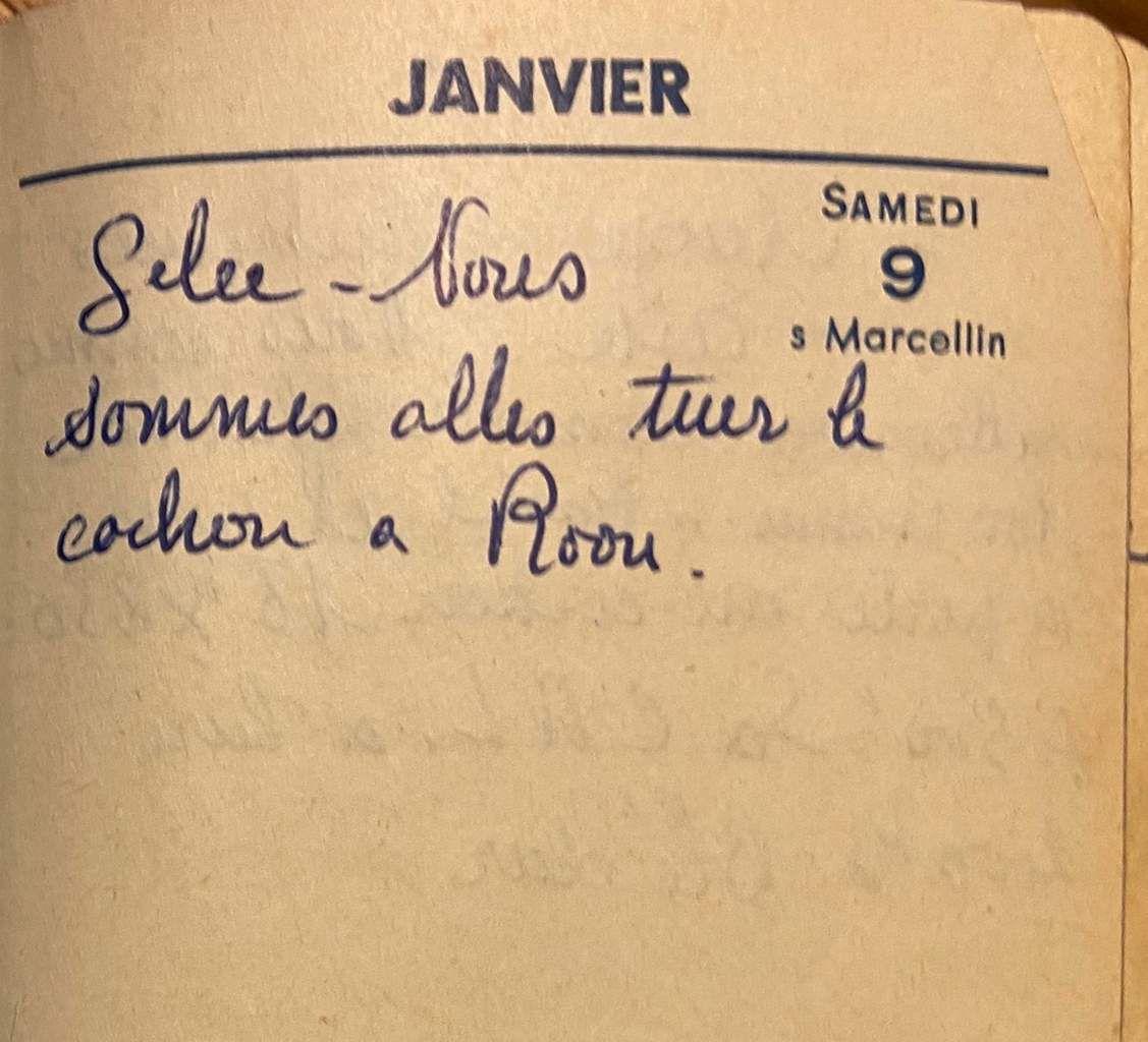 Samedi 9 janvier 1960 - Tuer le cochon