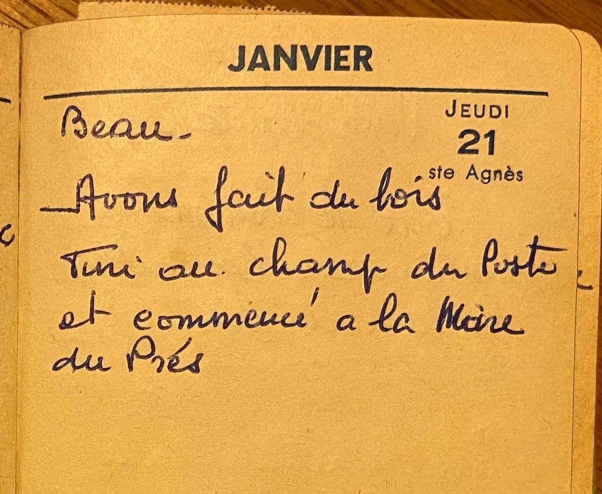 Jeudi 21 janvier 1960 - faire du bois