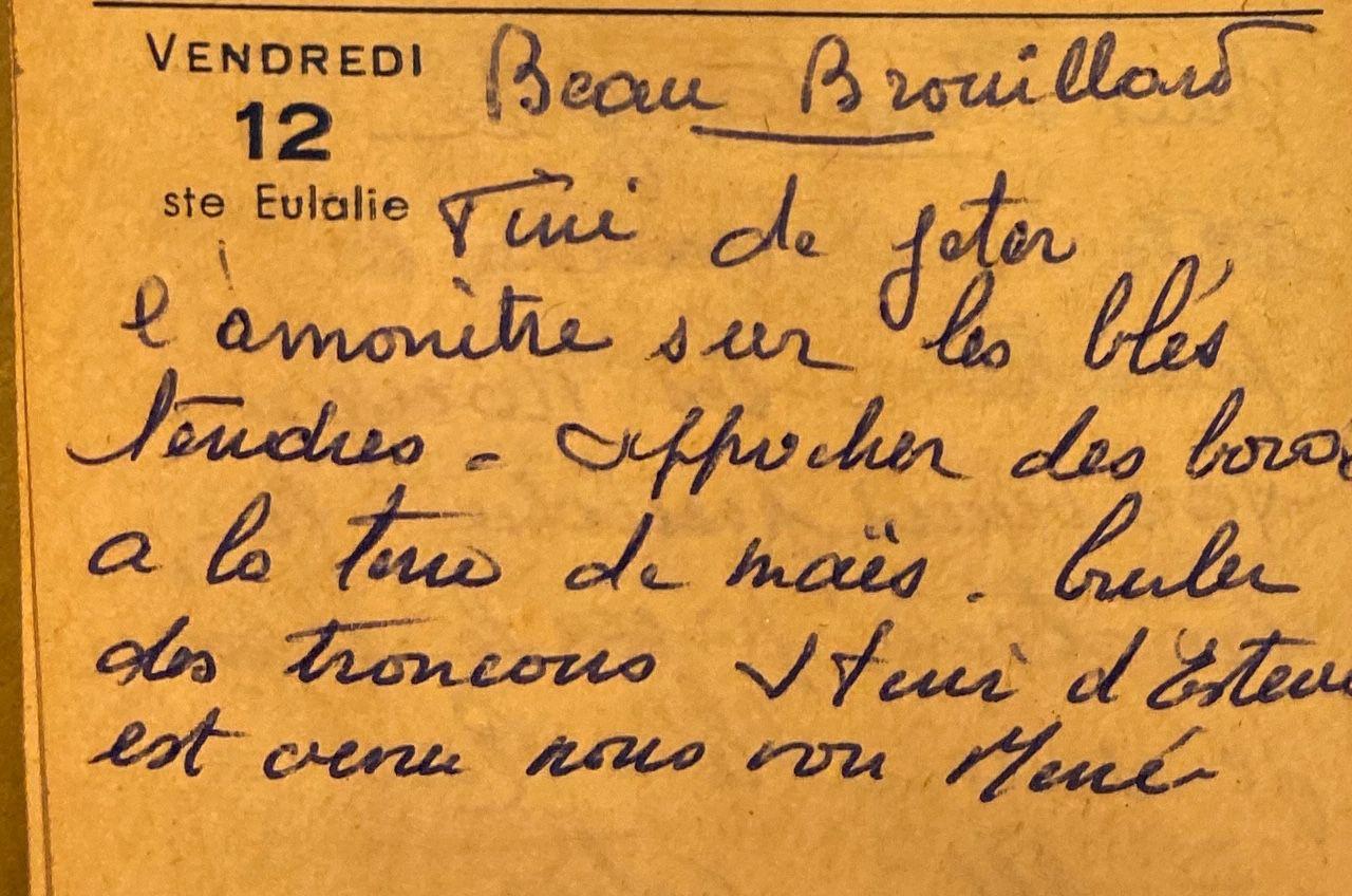 Vendredi 12 février 1960 - brûler les tronçons de maïs