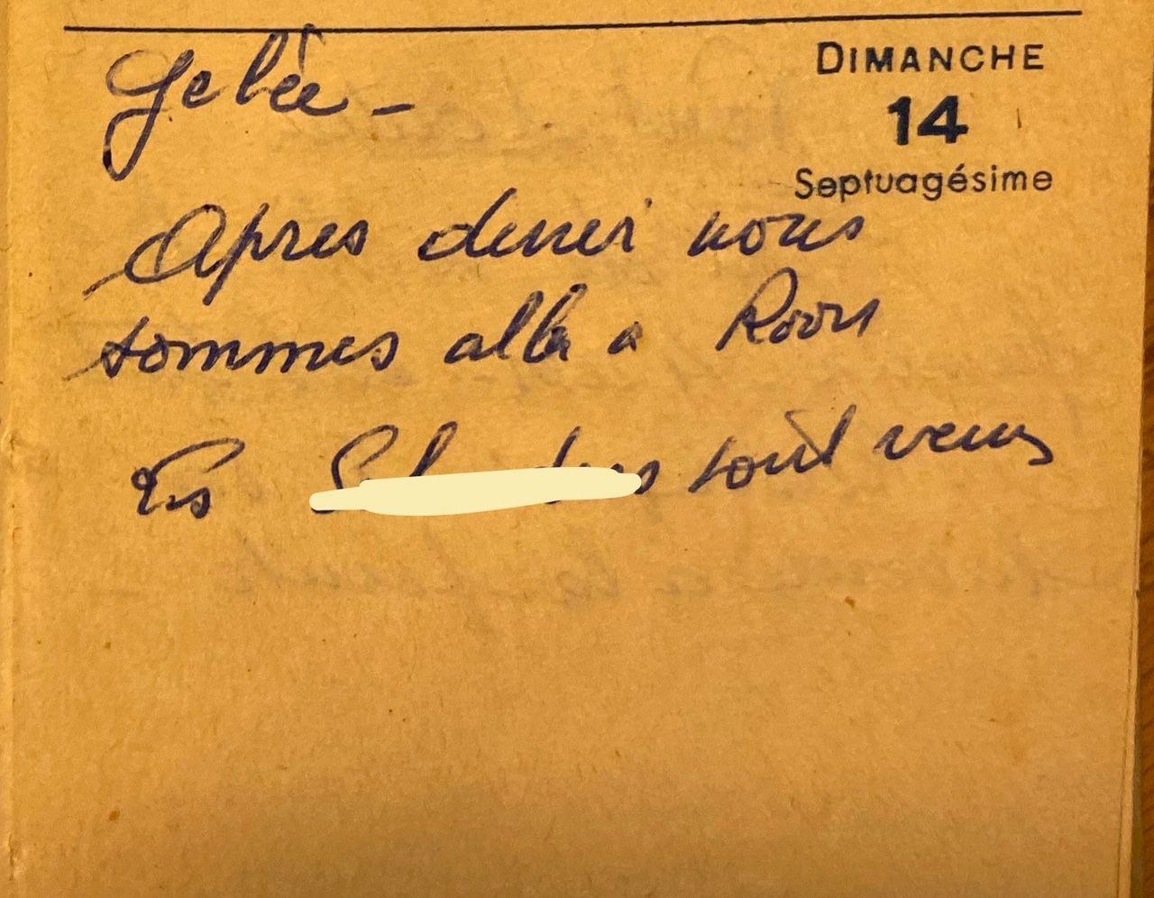 Dimanche 14 février 1960 - des visites