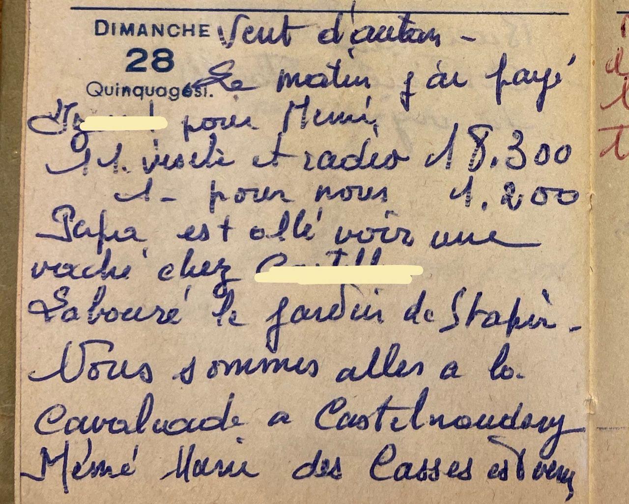 dimanche 28 février 1960 - payer le médecin