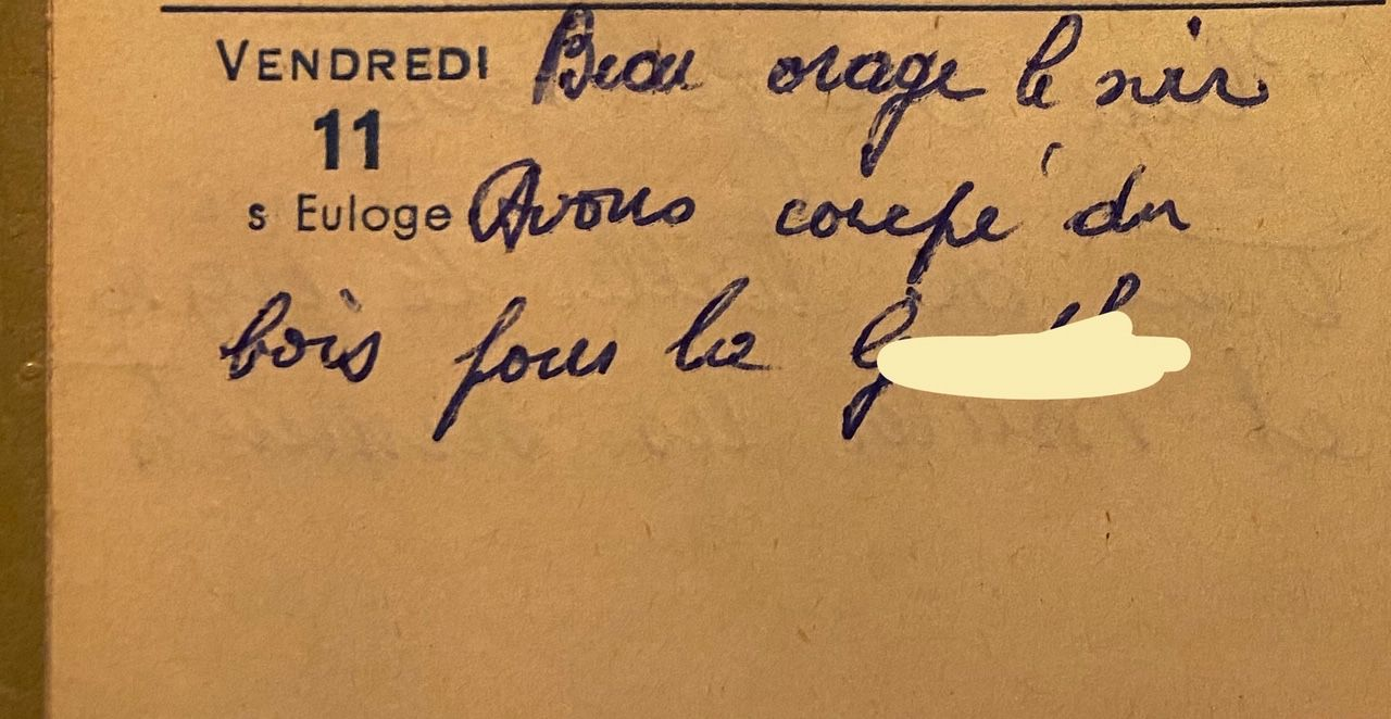 Vendredi 11 mars 1960 - du bois pour le propriétaire