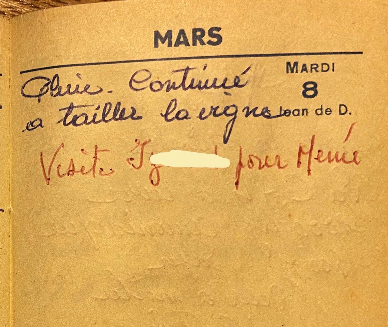 Mardi 8 mars 1960 - la taille de la vigne et le docteur