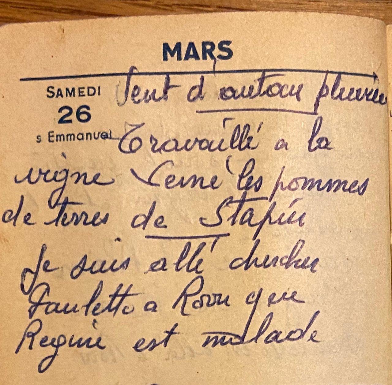 Samedi 26 mars 1960 - Les pommes de terre de Stapin