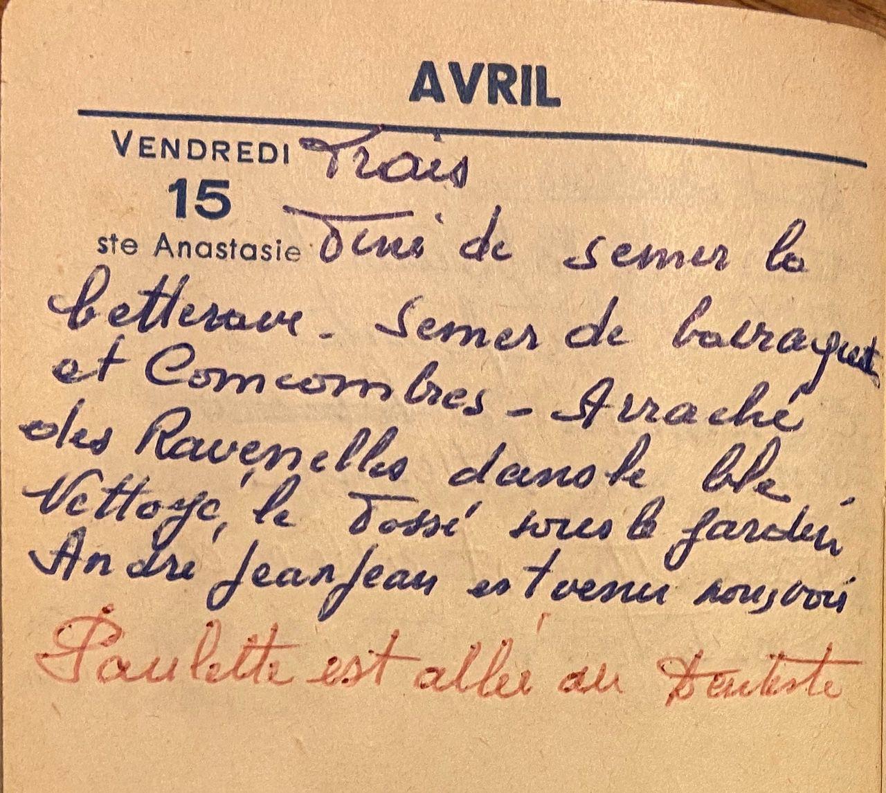 Vendredi 15 avril 1960 : semer les barraquets