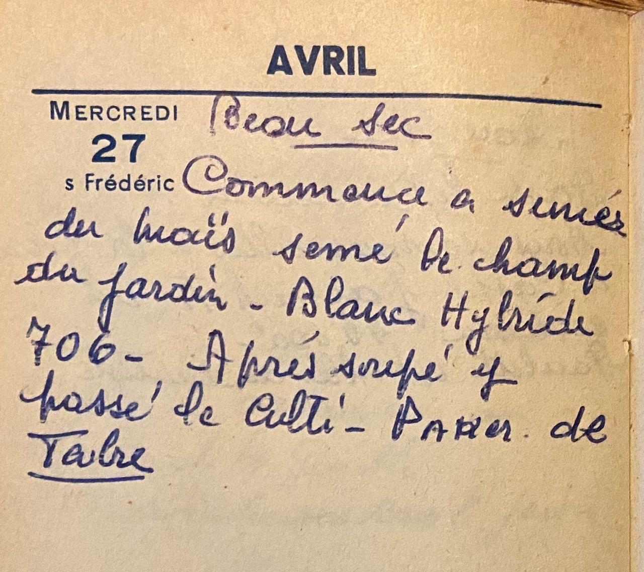 Mercredi 27 avril 1960 - le début des semis de maïs