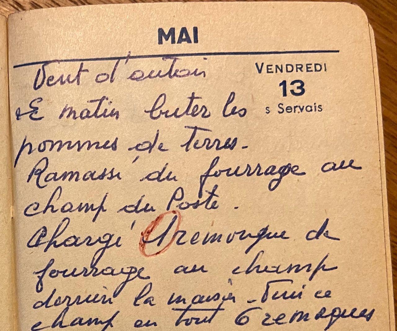Vendredi 13 mai 1960 - buter les pommes de terre