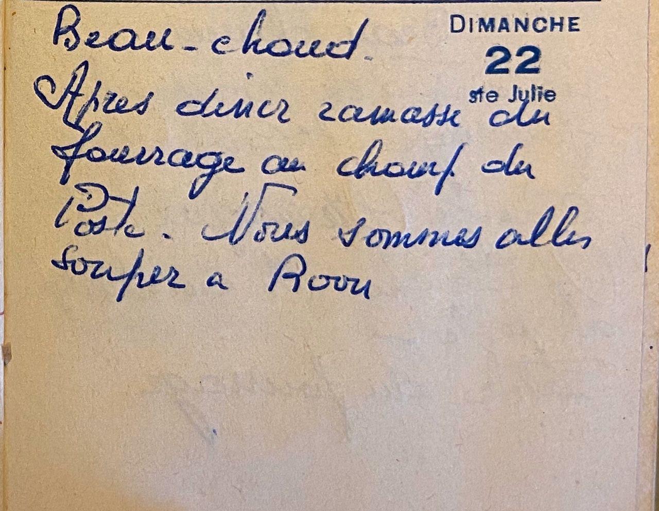 Dimanche 22 mai 1960 - le fourrage du champ du poste