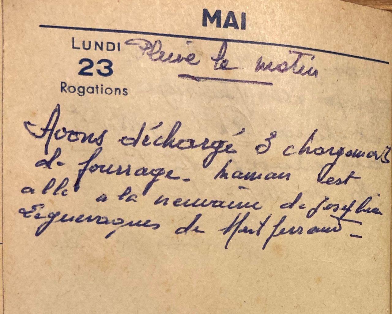Lundi 23 mai 1960 - Les chargements et la neuvaine
