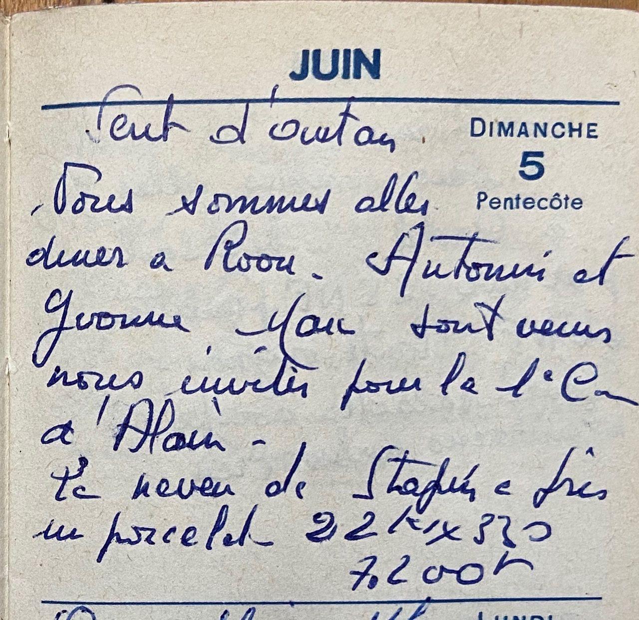 Dimanche 5 juin 1960 - l'invitation d'Yvonne et Antonin