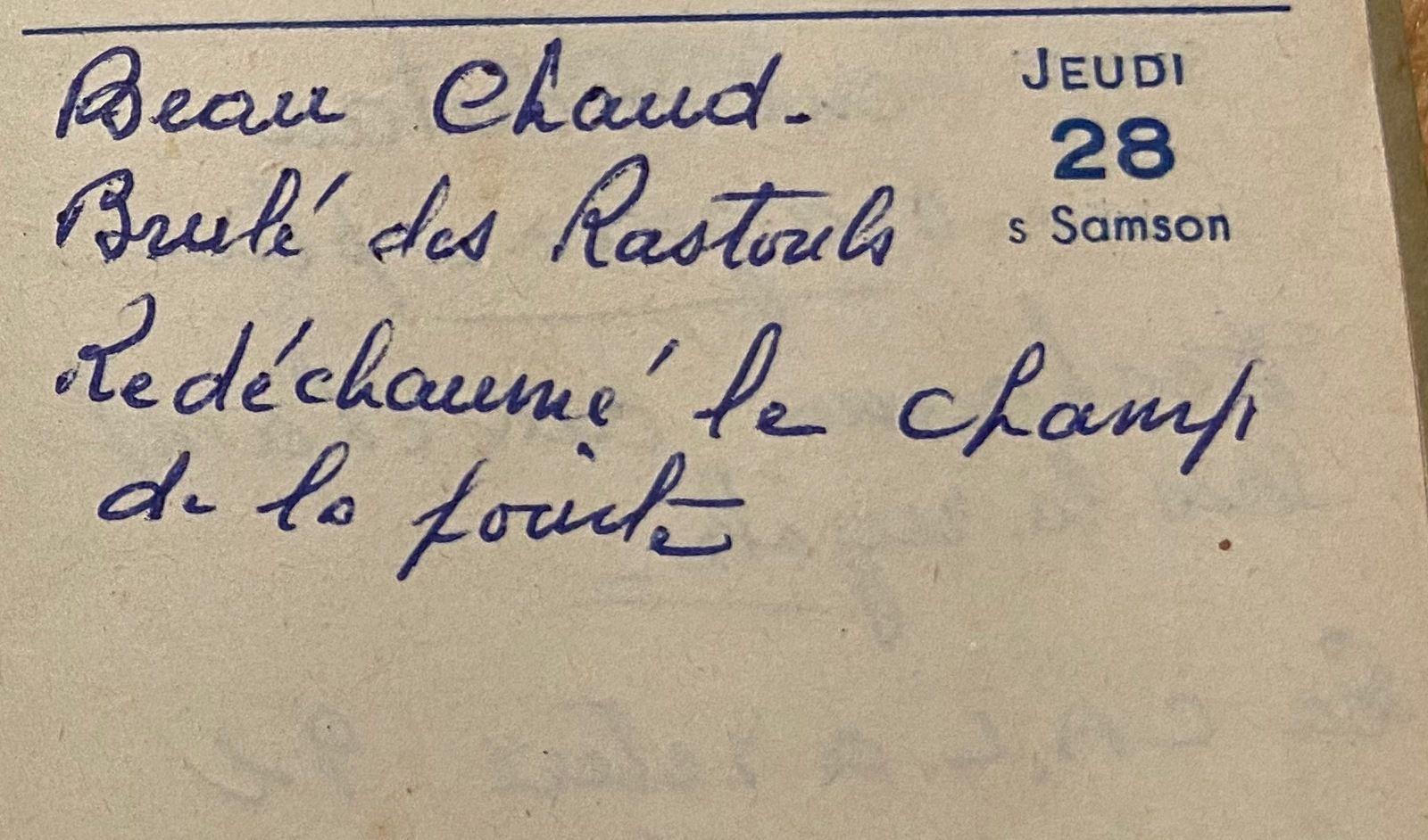 Jeudi 28 juillet 1960 - redéchaumer