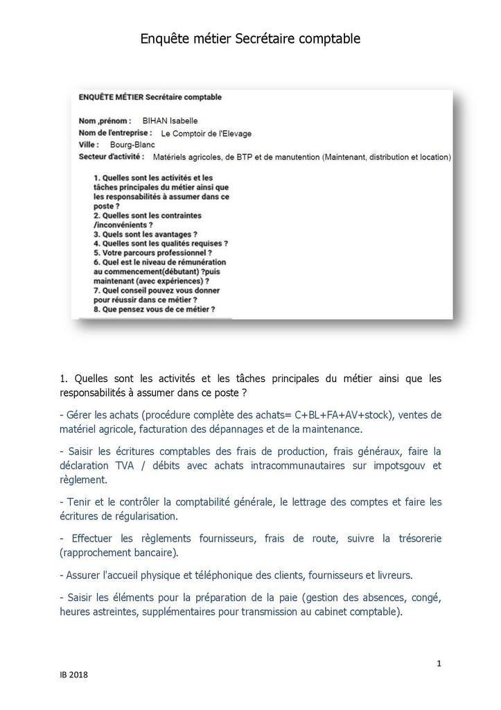 ENQUETE METIER SECRETAIRE COMPTABLE - Comptable IsaBelle BIHAN