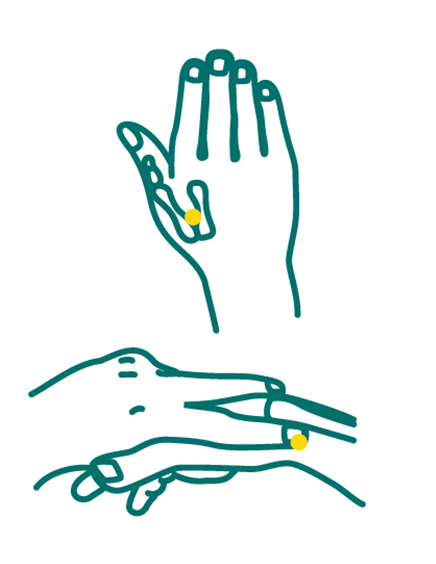 Pour soulager les maux de tête : Massage douxet prolonger en formant des petits cercles avec le doigt