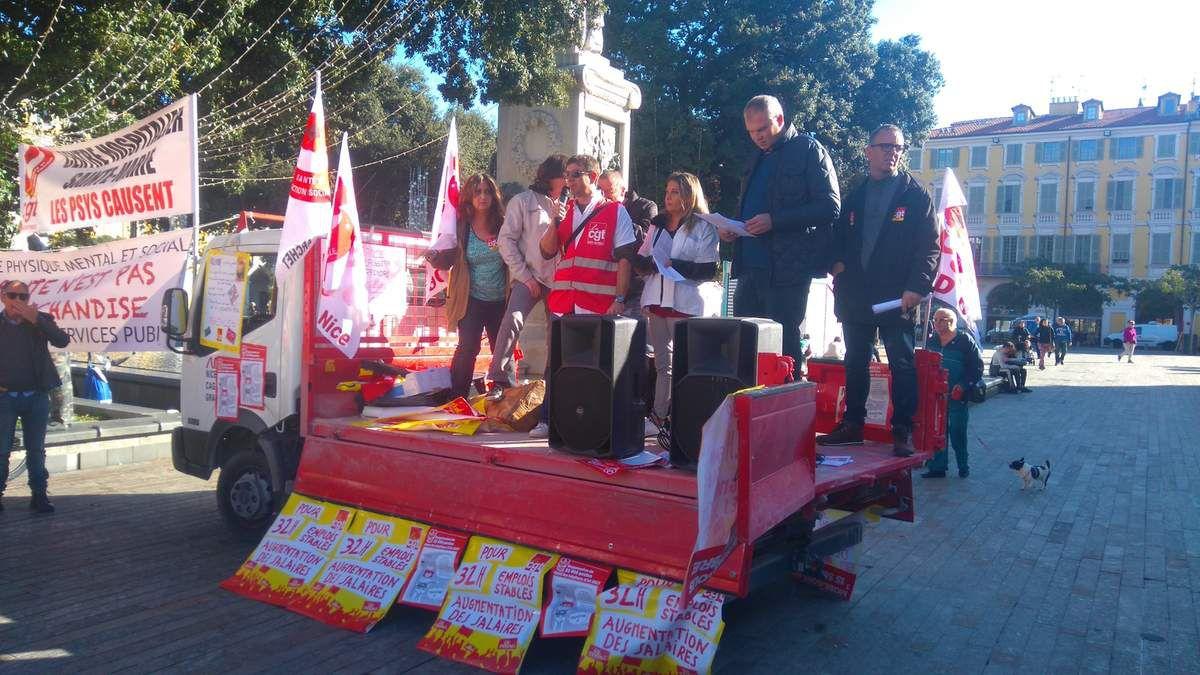 Nice : Manifestation des personnels de santé pour la défense du service public hospitalier et le droit à une santé pour tous (photos)