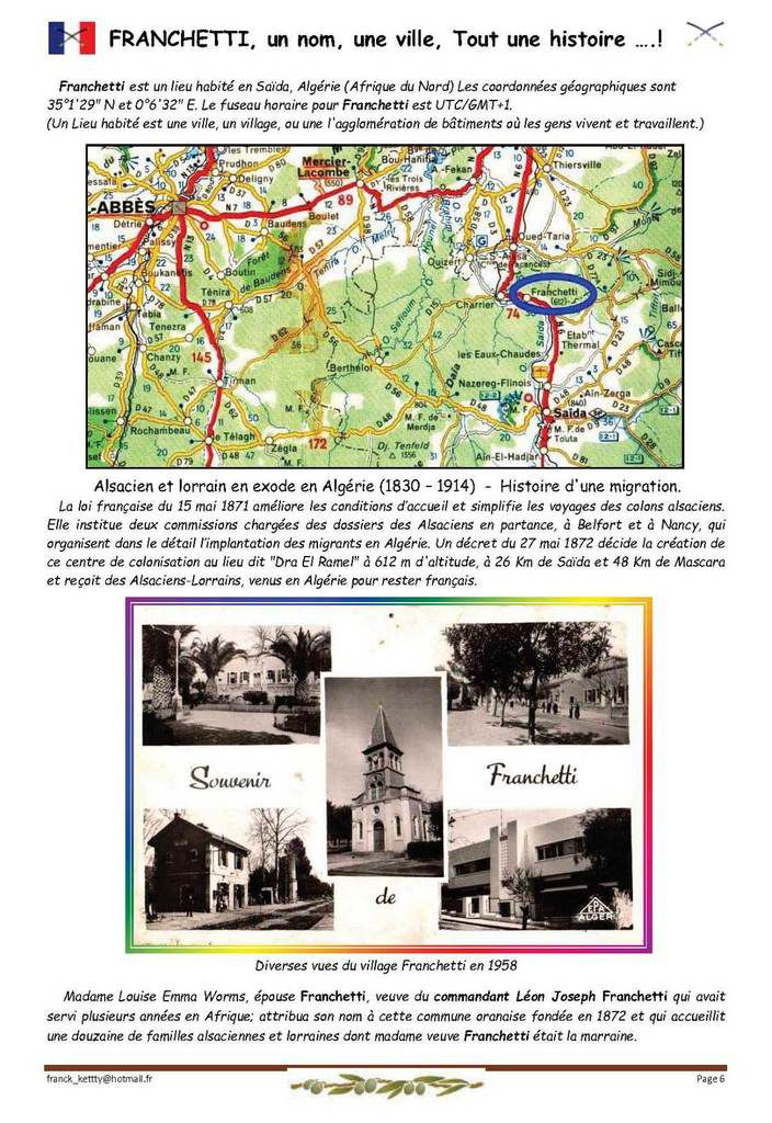 FRANCHETTI, un nom, une ville, Tout une histoire ….! 1ere partie