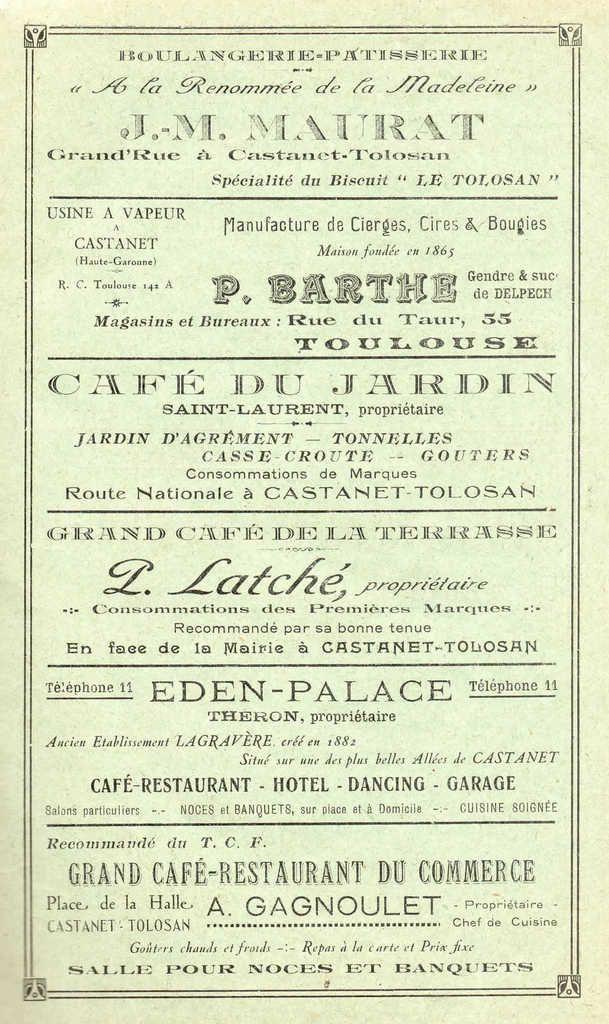 Un canton languedocien : CASTANET TOLOSAN en 1929  2ème partie