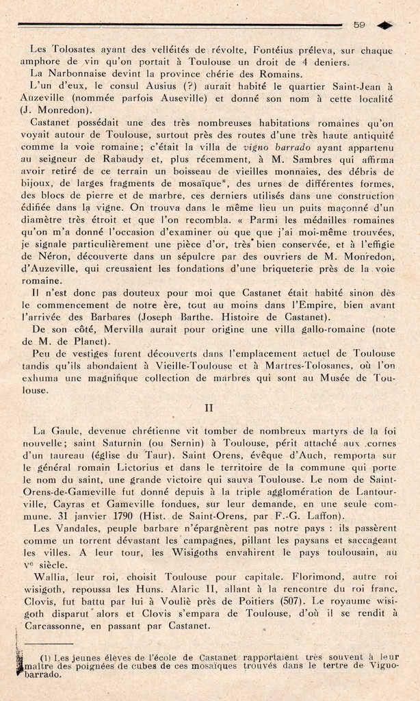 Un canton languedocien : CASTANET TOLOSAN en 1929    6ème partie