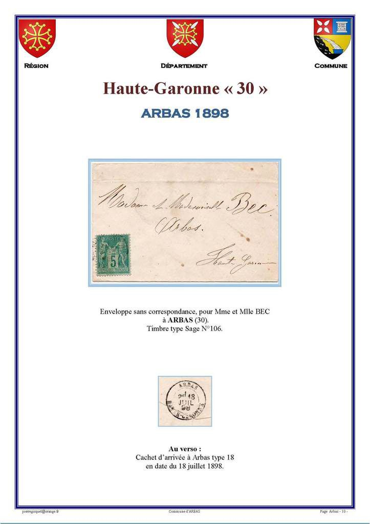Haute -Garonne   ARBAS  Cartophilie  Philatélie Histoire