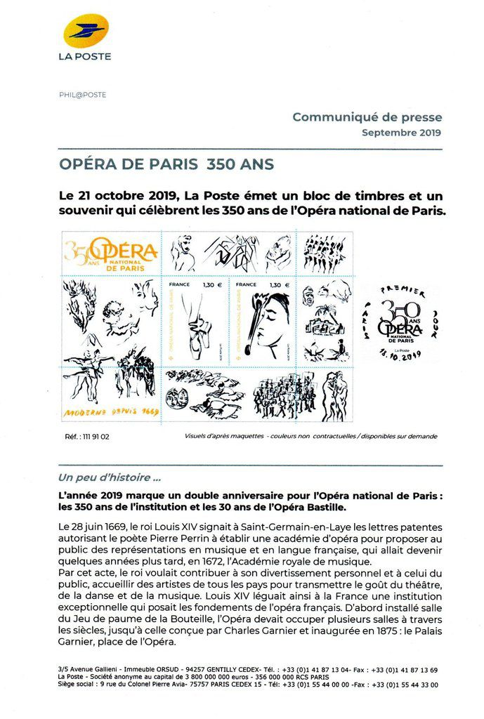 Programme philatélique  Opéra national de Paris