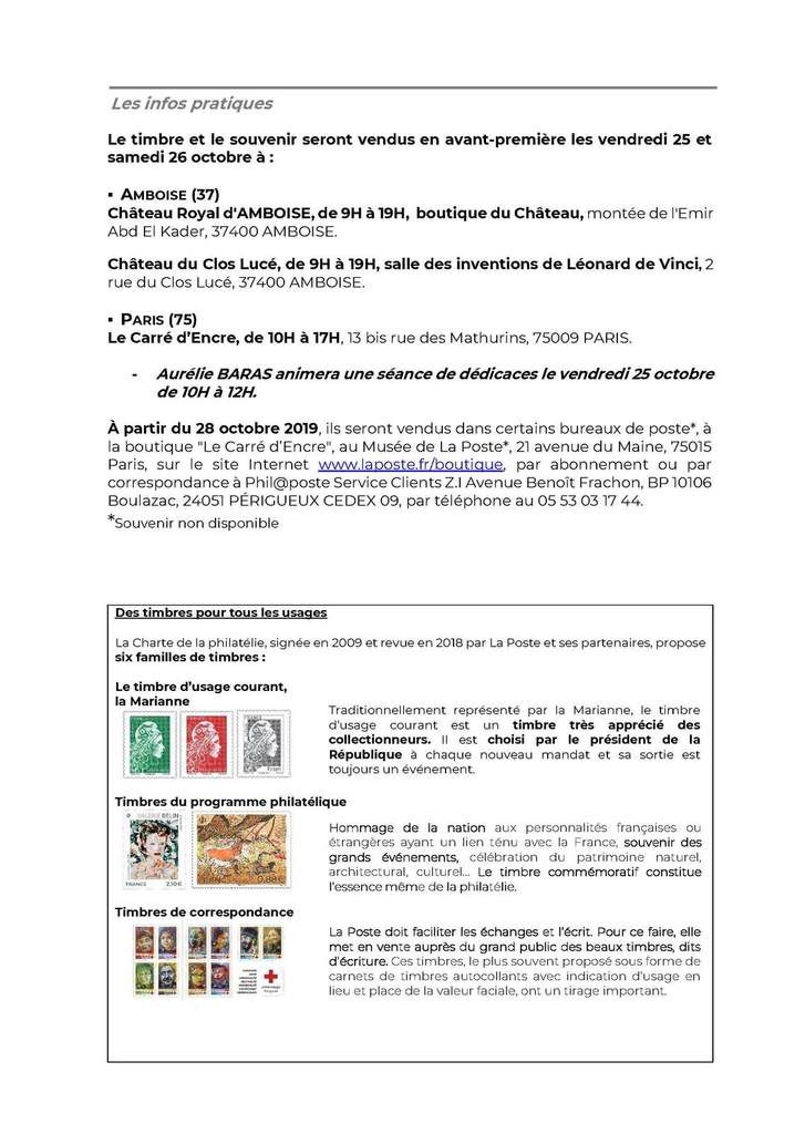 Emmisions philatéliques 2019 Léonard de Vinci