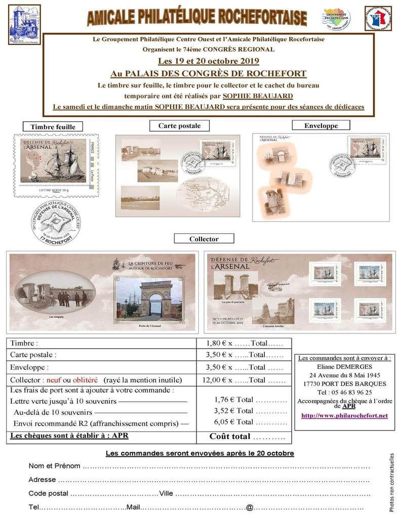 Programme philatélique octobre 2019    Rochefort