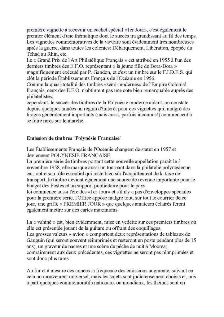 Philatélie  Etablissements français de l'Océanie