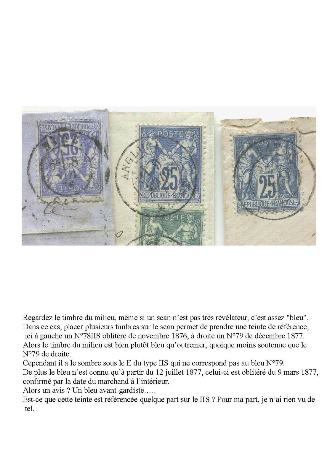 Philatélie Le 25 centimes Outremer type Sage