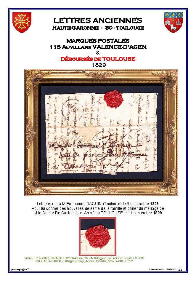 Marques postales de Toulouse  1