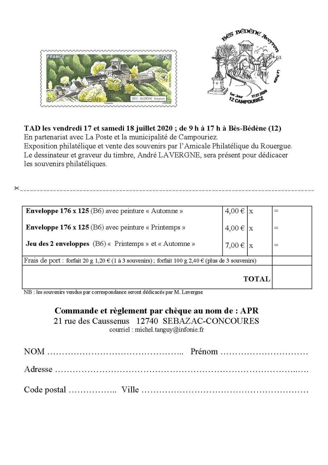 """Enveloppes souvenirs """"Bès-Bedène"""""""