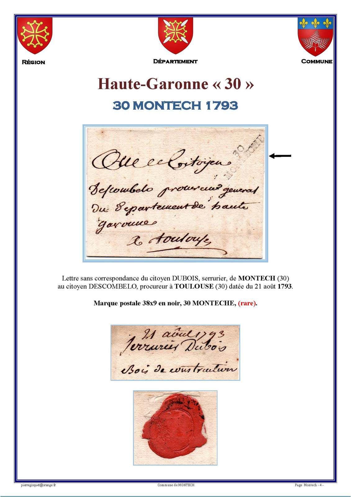 Marcophilie  30 MONTECHE  Haute-Garonne