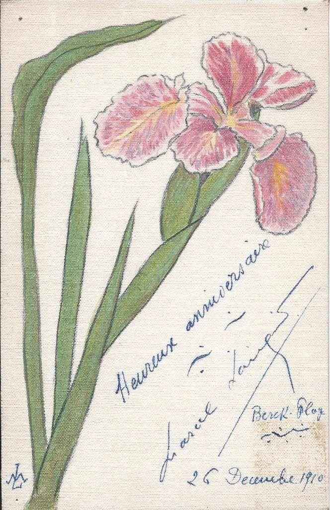 271 - HEUREUX ANNIVERSAIRE 26/12/1910 - CARTE ENTOILEE -