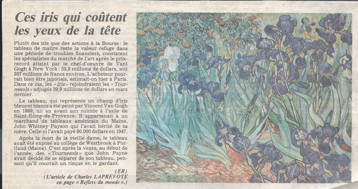 EXTRAIT DE L'EST RÉPUBLICAIN DE NOVEMBRE 1987 (document conservé avec mes cartes)
