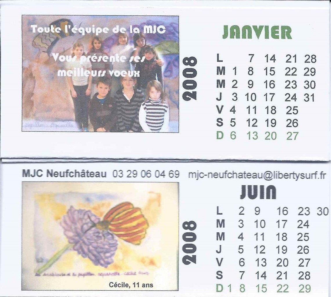 iris 6 1259 - Petit calendrier édité par la MJC de Neufchâteau en 2008 et fait par des enfants. C'est Valentine 7 ans qui a peint les iris.
