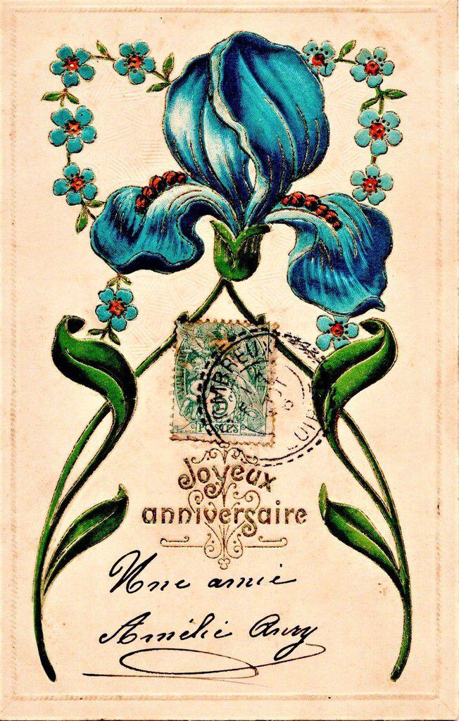 IRIS 1545 -   JOYEUX ANNIVERSAIRE - ÉCRITE LE 9.06.1906