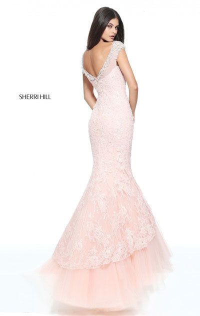 a318da0af81 This Sherri Hill 51114 full-length lace prom dress features a crystal beaded  illusion Sabrina