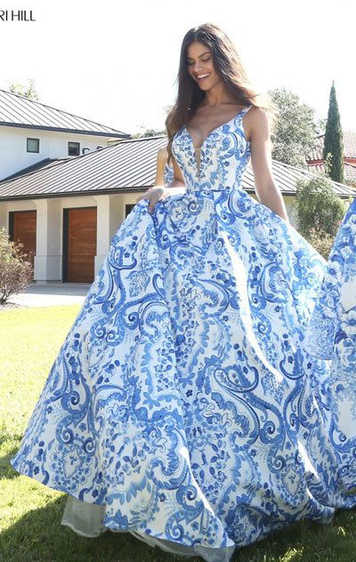 retail prices exclusive shoes 100% genuine Ivory/Blue Sherri Hill For 51267 Floral Wedding Gown 2017 ...