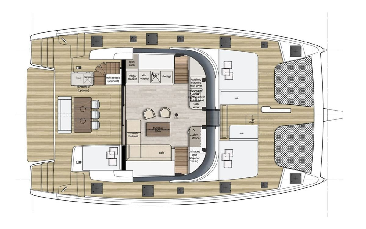 The Sunreef 50 will be available versions 5 and 6 cabins