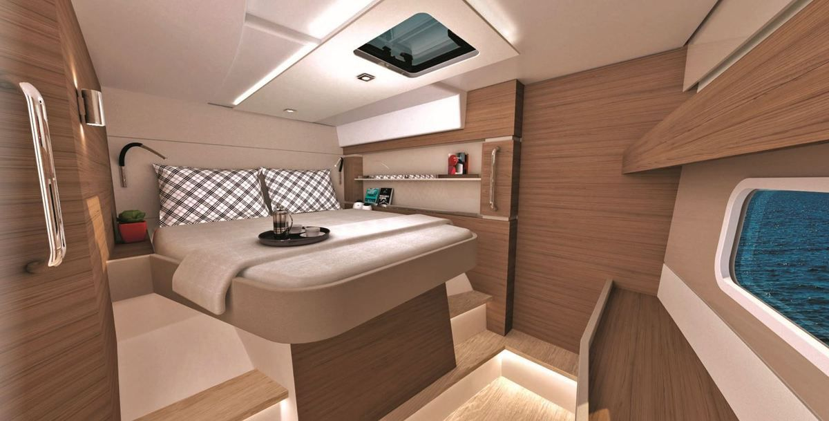 Bali CatSpace Catamaran - front cabin, with sea view from the bed ... and additional single bed !!