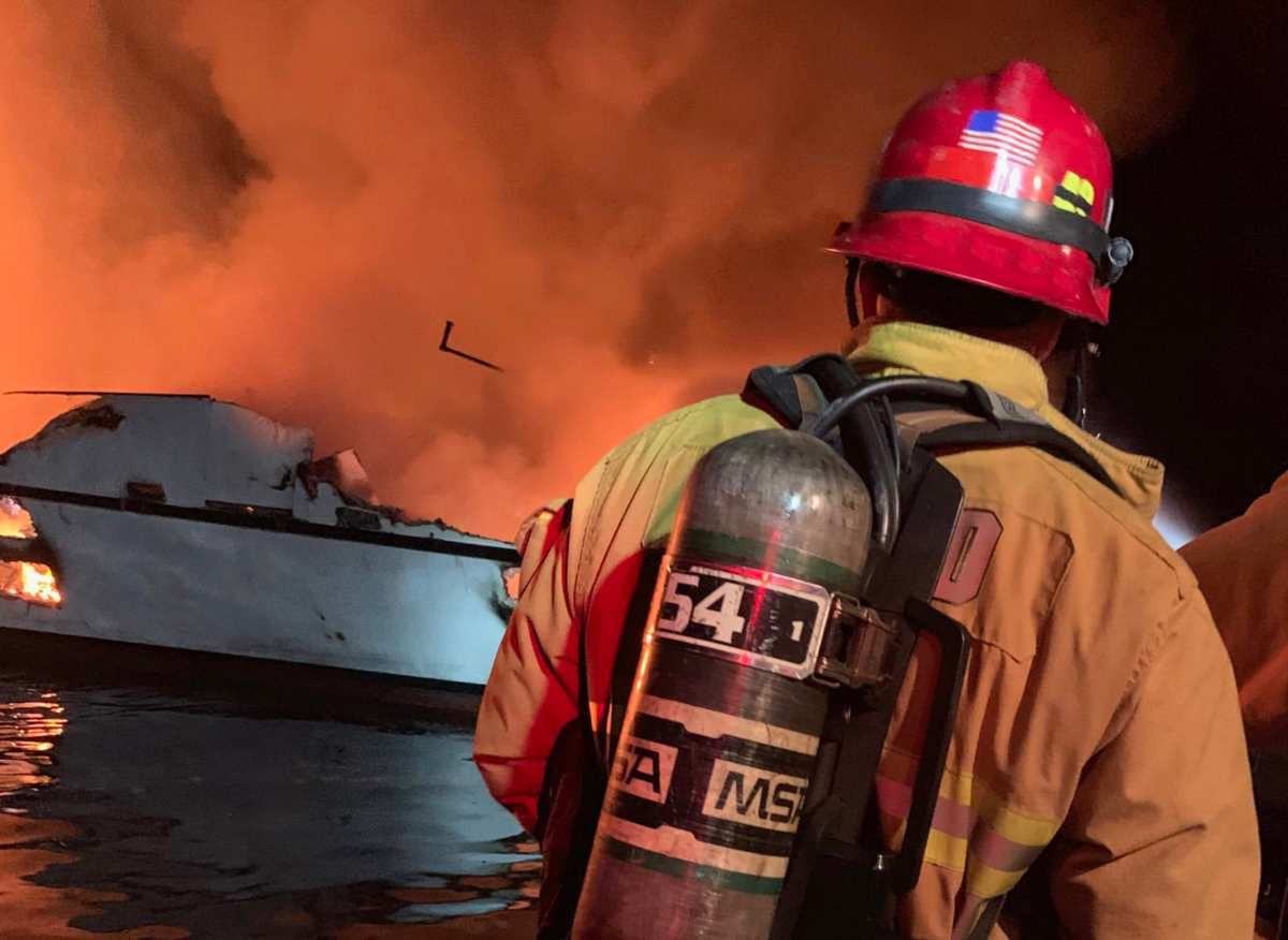 28 boaters missing on board a yacht on fire off the coast of Los Angeles