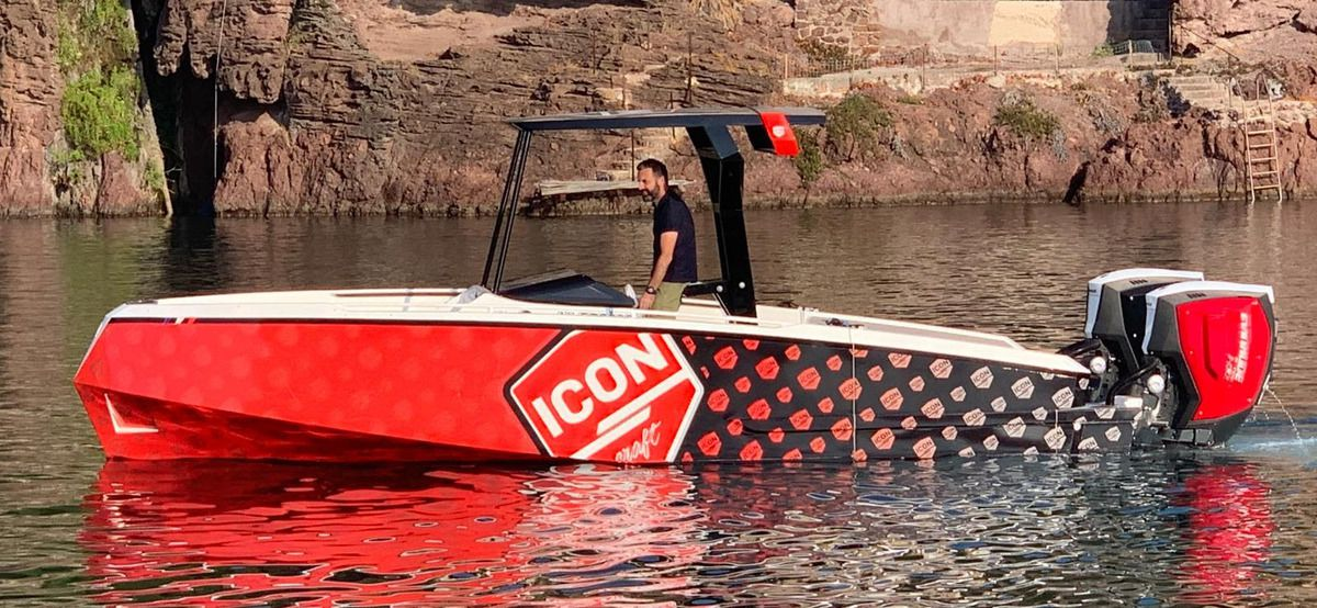 Marino Alfani at Monaco Yacht Show with the Tender 27 Iconcraft