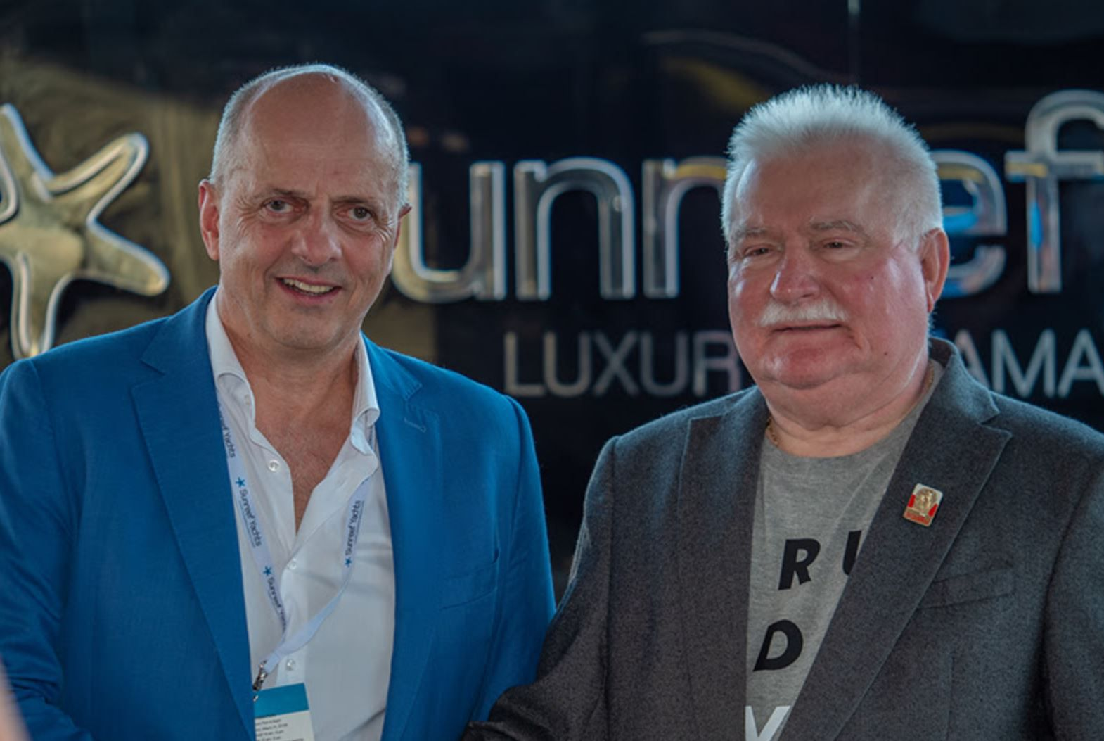 Francis Lapp, founder and president of Sunreef Yachts, with Lech Walesa, former President of Poland