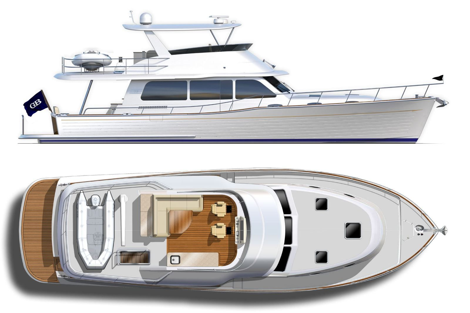 The layout of the new Grand Banks 54 (GB54) unveiled on Yachting Art!
