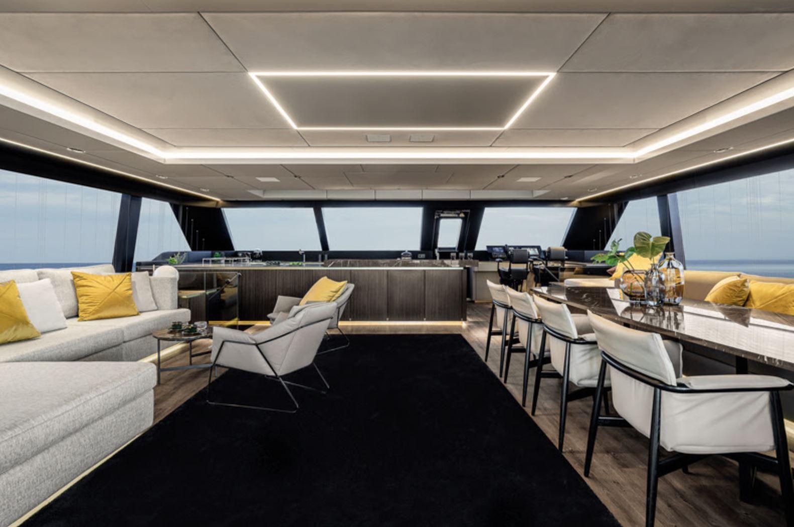 Luxury, for this semi-custom motor yacht catamaran