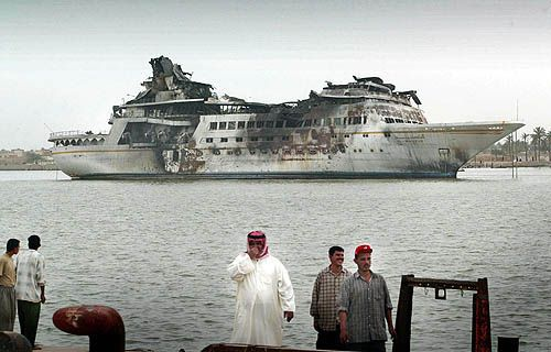 Al Mansur, Saddam Hussein's second yacht, after an attack by American F14's.