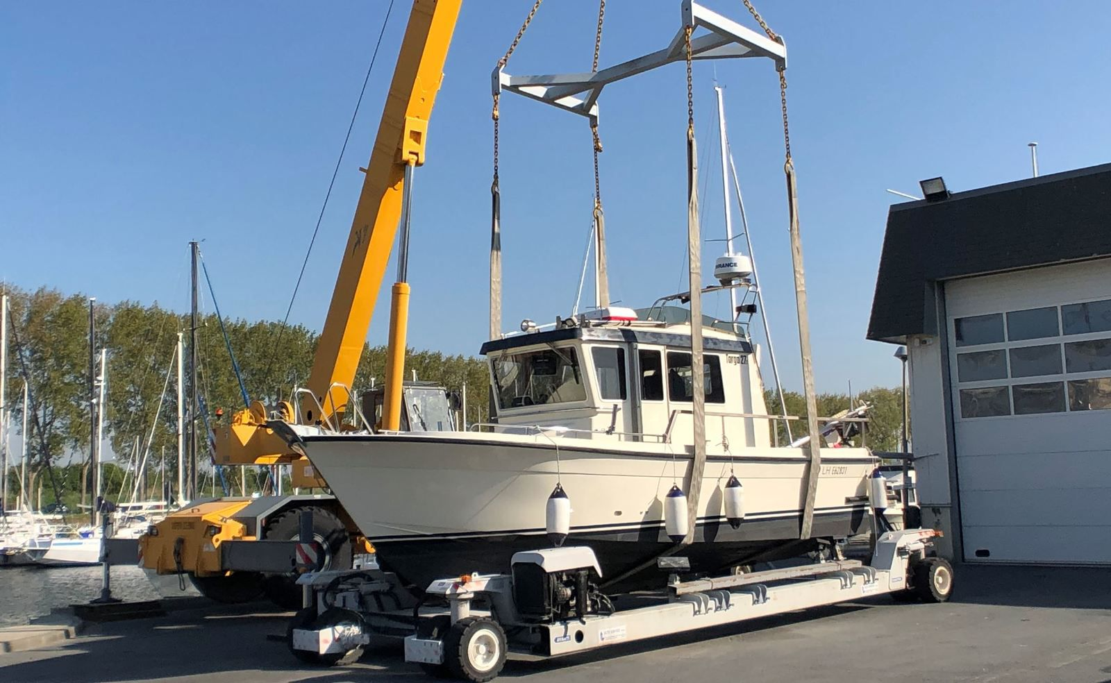 Launching of a Targa at its French importer, Snip Yachting, in Ouistreham