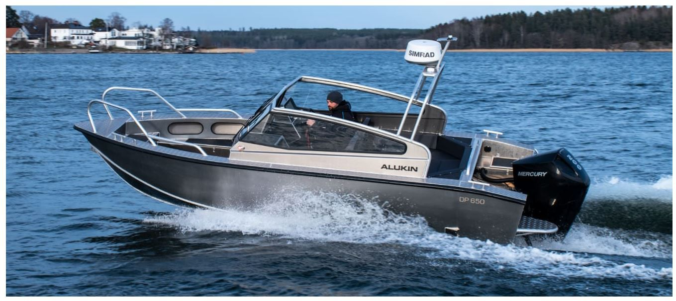 An aluminium outboard boat from Alukin, a Swedish shipyard bought by its compatriot Nimbus Boats.