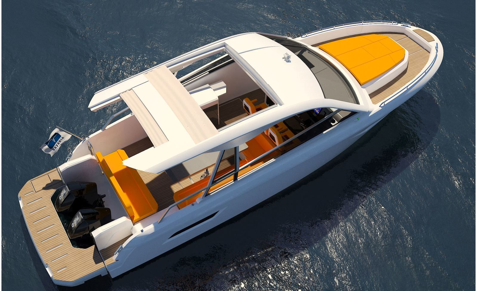 Bavaria Vida 33 HT, with a central sunpad and a cabin on the foredeck