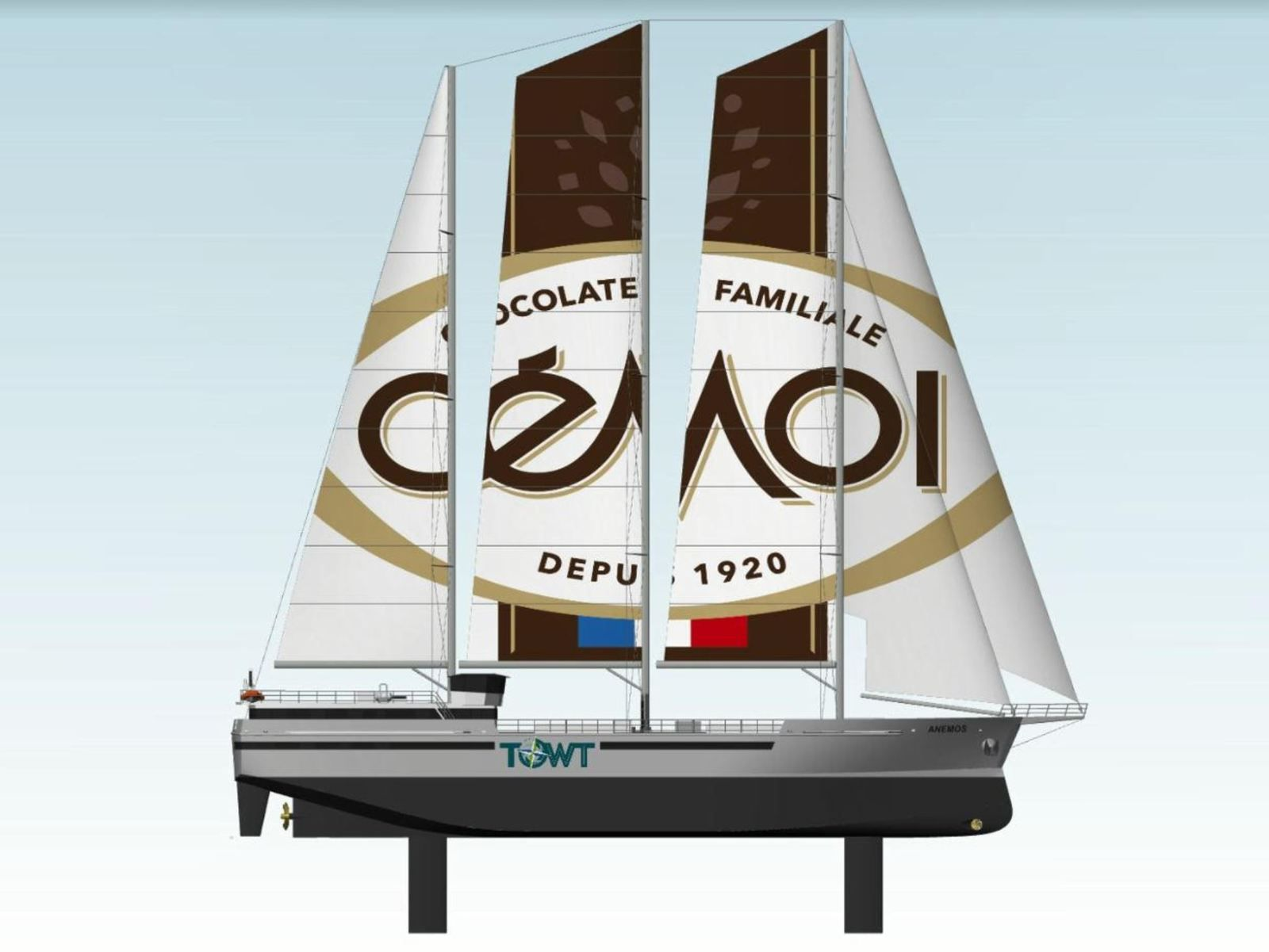 4 sailing cargo ships, to transport cocoa from the French chocolate maker Cémoi