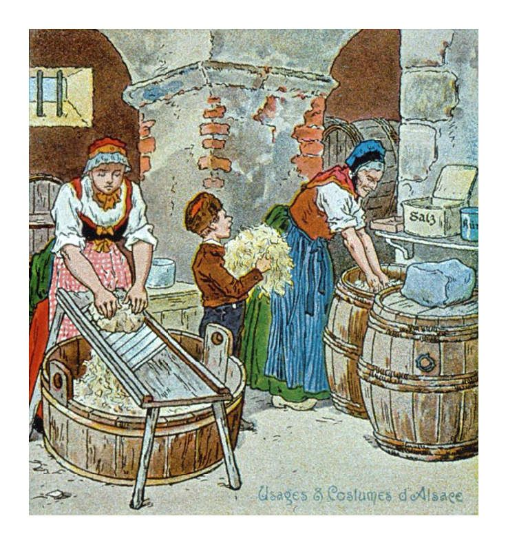 Fabrication traditionnelle de la choucroute d'Alsace